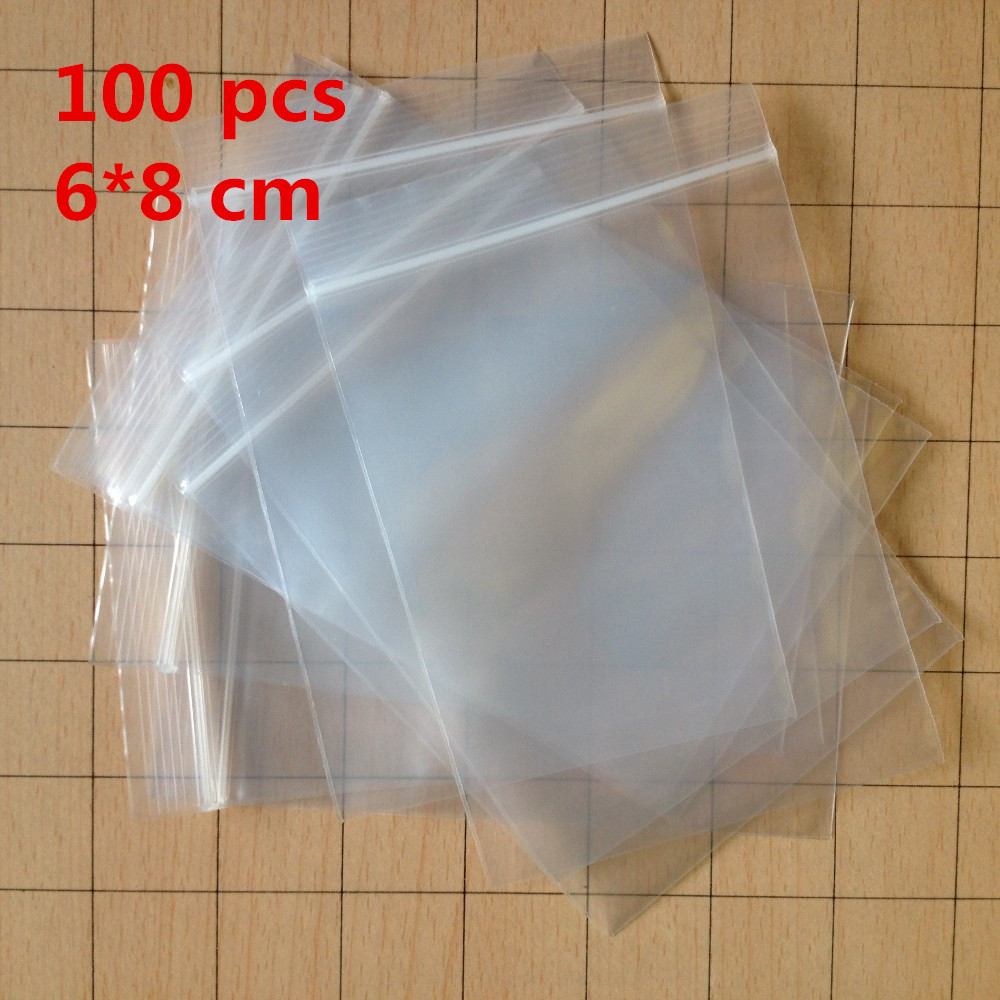 100 pcs/LOT Small 6 X 8 cm Ziplock zip lock poly bags clear plastic bags for food storage bags thick transparent bag(China (Mainland))