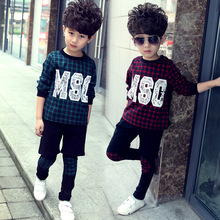 2016 Spring Autumn Boys Sports Suits O-Neck Long Sleeve Plaid Two Pieces Top Clother & Pants Children Clothes Sets Top Quality(China (Mainland))