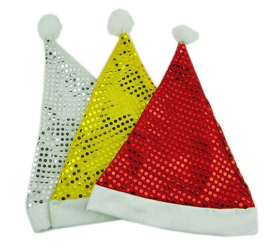 Hot sale Red Golden light sequined Christmas hat / Christmas gift / adult men and women hats x'mas Hat gift for child x 600pcs(China (Mainland))
