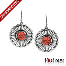 Fashion Vintage Silver Plated Colorful Stone Hollow Pendants Drop Pendant Statement Dangle Earrings(China (Mainland))
