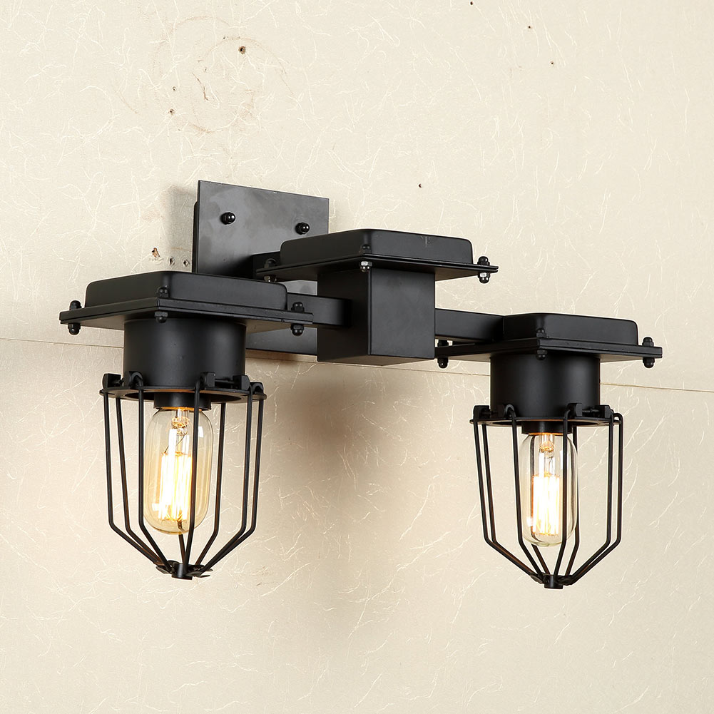 Фотография American Vintage Double Heads Wall Lamp Indoor Lighting Bedside Lamps Wall Lights E27 For Home Free Shipping
