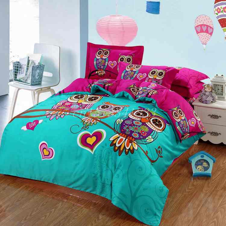NEW!! owl bedding set 100% cotton oil paintings Kids Girls Boys queen 3D duvet cover sets bed sheet flat sheet and pillowcases(China (Mainland))