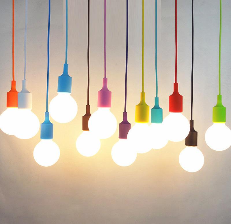 modern colorful silicone pendant lights for bar restaurant e27 pendant l hloder 1 meter cable