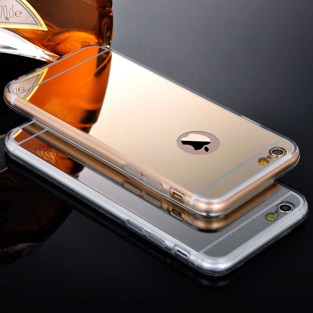 For Iphone 5 5S 5G Clear Phone Cases Fashion Luxury Ultra Slim Soft Case For Iphone 5S Silicone Edge + Shinny Mirror Back Cover(China (Mainland))
