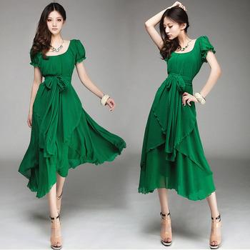 Feitong новый урожай женщины летом шифона длинные нерегулярные элегантные вечерние ну вечеринку длиной макси платья повязки топы бесплатная доставка