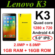 "Original Lenovo K30-T K3 K30-W Cell phones Android 4.4 Quad Core 4G FDD LTE 16G ROM 5.0"" 8.0MP free shipping Russian language"