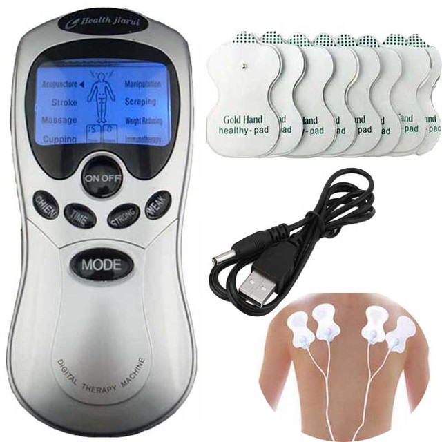 Tens Acupuncture Blue screen electronic Digital Therapy Machine Massager Four fastener Electrod wire 8 pads Health care massage