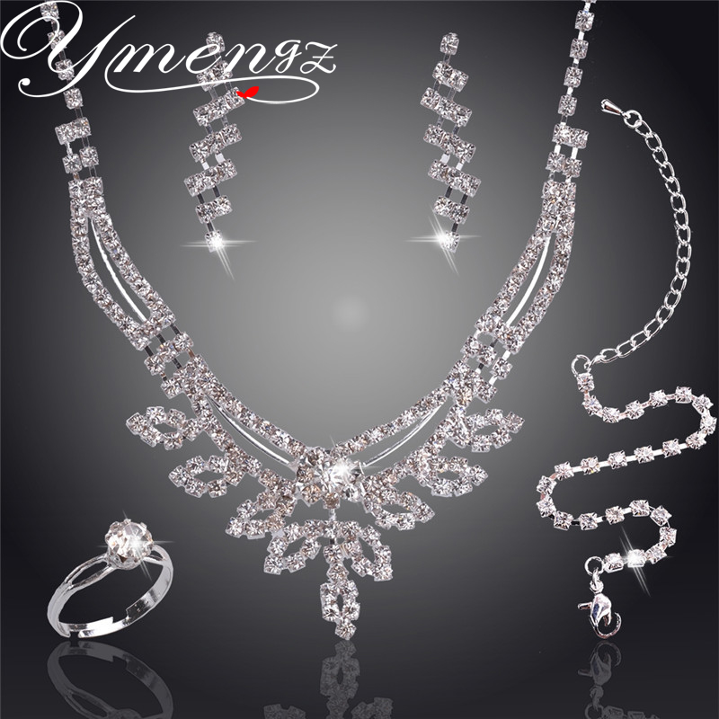 YMENGZ Swaying Pendant Jewelry Sets Silver Plated Necklace Bracelet Earring Ring Crystal Bridal Wedding Jewelry Sets For Women