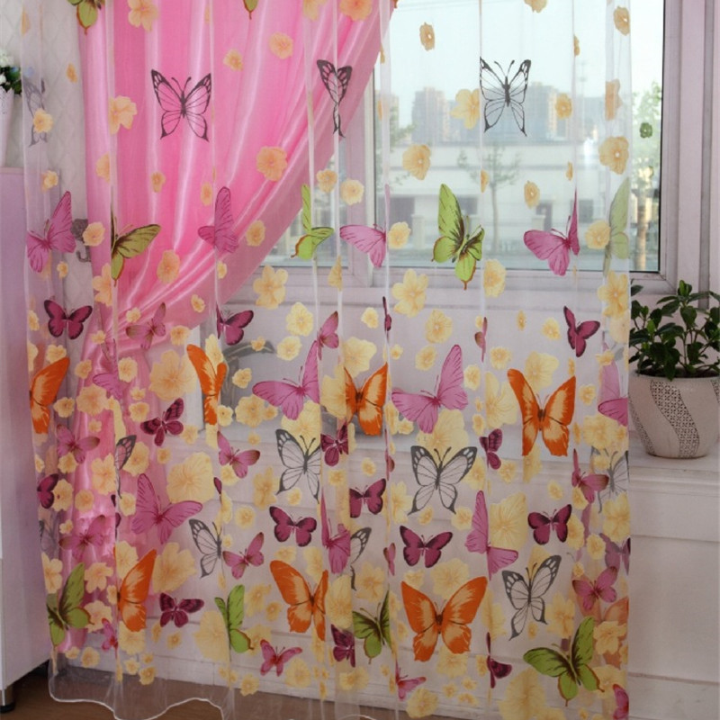 Hot Butterfly Printed Tulle Window Screening Sheer Voile Gauze Curtain for Bedroom Balcony Living Room Kitchen Translucidus(China (Mainland))