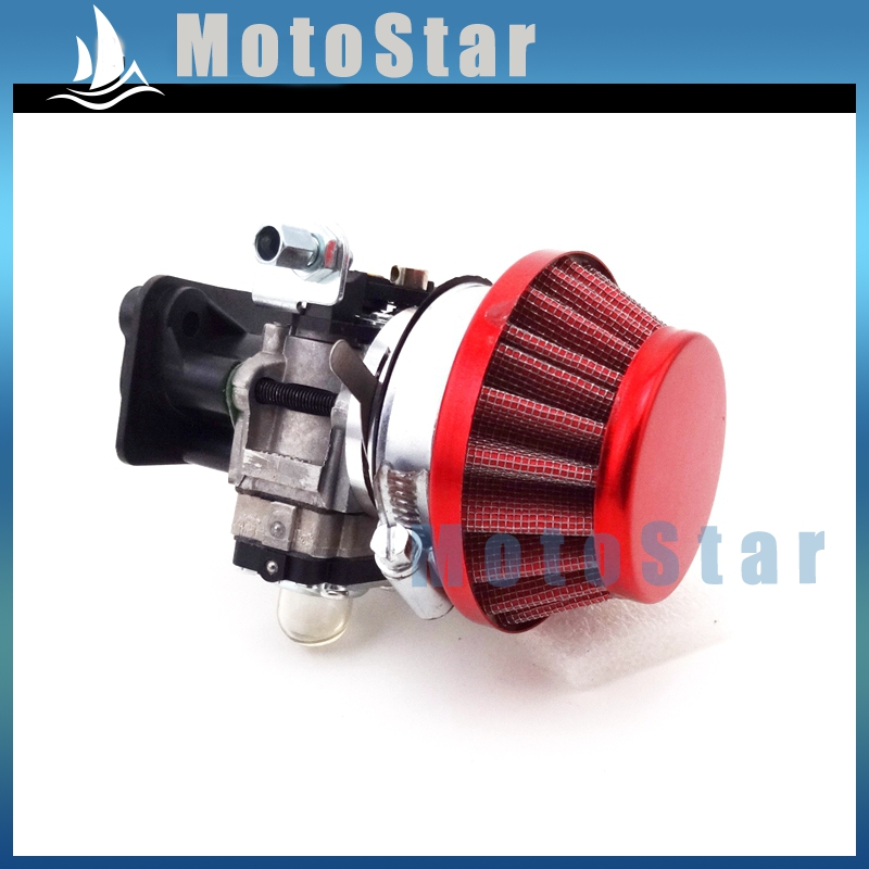 15mm Carburetor + Red 44mm Air Filter + Alloy Stack Kit For 2 Stroke 33cc 43cc 49cc Engine Parts Goped EVO Gas Scooter(China (Mainland))