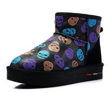 Impresión de la manera de las mujeres del tobillo del invierno botas de nieve caliente botas de suela gruesa impermeable de cuero real las mujeres botas zapatos de mujer botas de mujer(China (Mainland))
