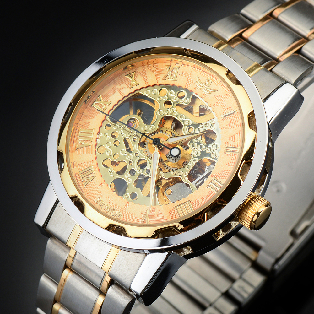 Top Brand Mens Full Steel Hand Wind Watch Classic wristwatches Steampunk Skeleton Mechanical Men Fashion Stainless - Zeus jewelry store