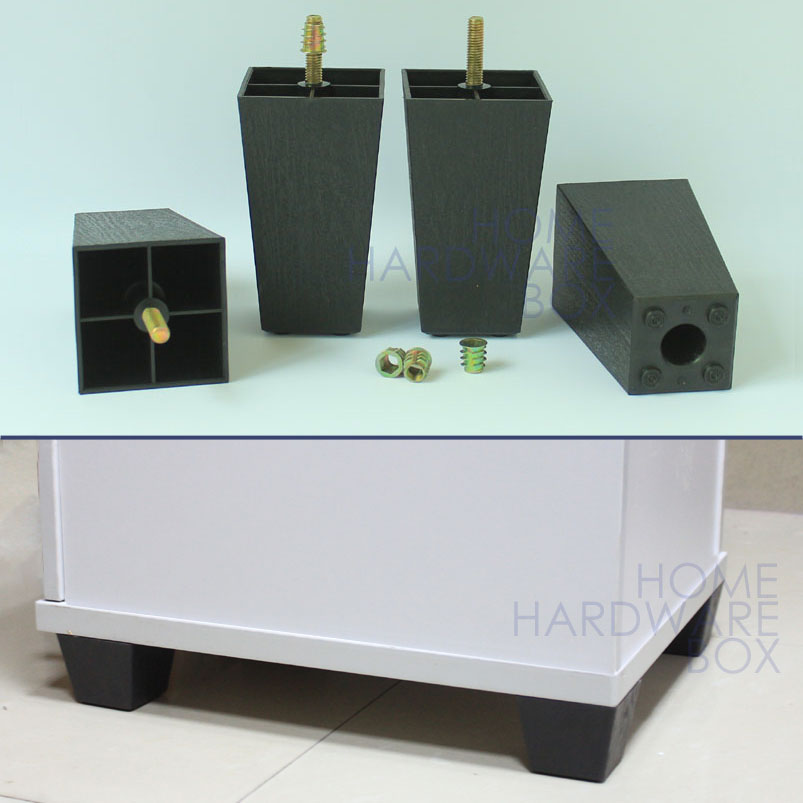 """4 pcs black plastic square leg 4.5"""" furniture cabinet stand couch feet PVC(China (Mainland))"""
