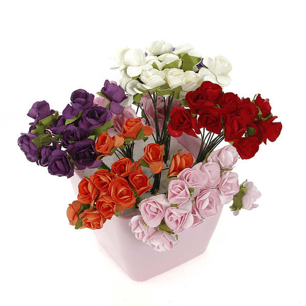144 Pcs New Fashion Fake Roses Bouque Multicolor Artificial Flowers Real Touch For Wedding(China (Mainland))