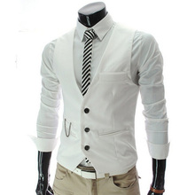 3XL Vest Men 2015 Autumn Slim Brand Men's Slim Fit Dress Suit Vest Waistcoats Men Gilet Colete Fashion chaleco Hombre RHY1110(China (Mainland))