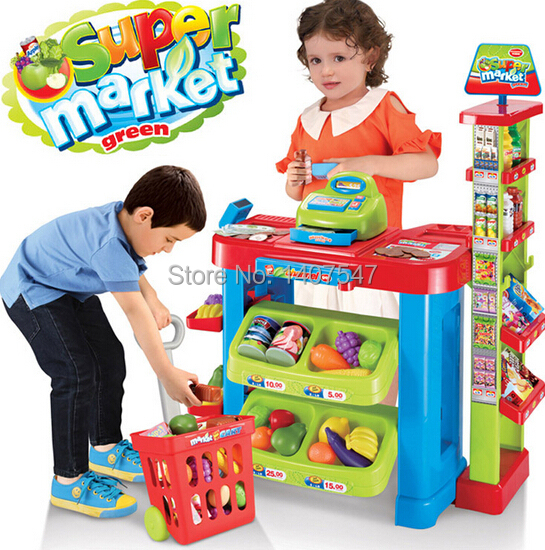 Large size supermarket cash register toy set classic toys pretend play house baby toys(China (Mainland))