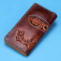 Handmade Wallets Carving Flower Zipper Brown Bag Purses Women Men Long Clutch Vegetable Tanned Leather Wallet