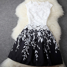 2015women dress,The new summer elegant water soluble lace stitching leaf print dress fashion temperament(China (Mainland))