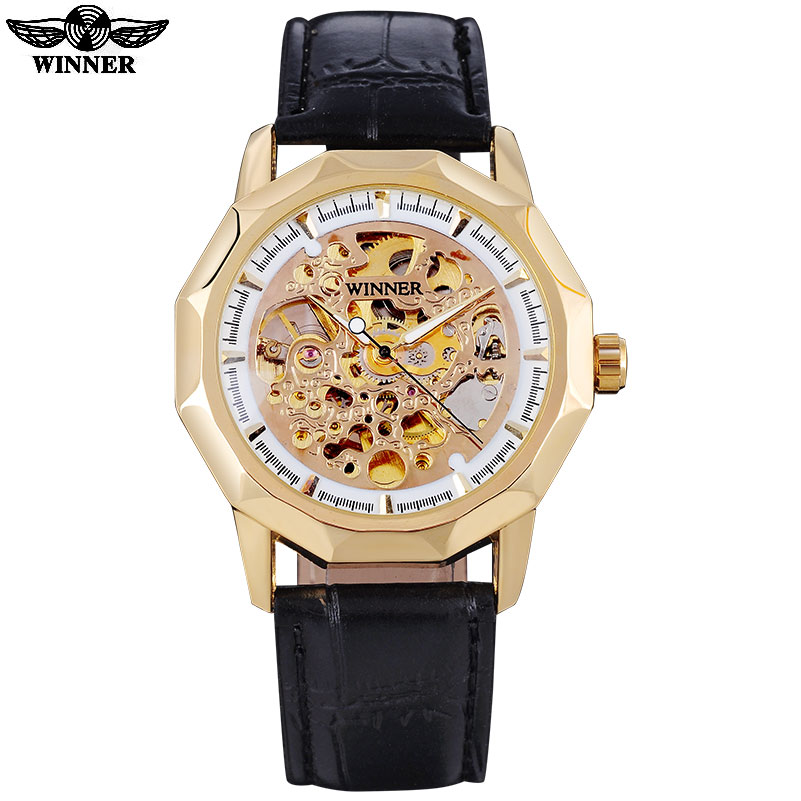 2016 WINNER famous brand men business automatic self wind watches skeleton gold dial transparent glass gold case leather band<br><br>Aliexpress