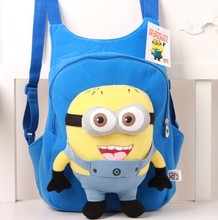 children s backpack Cute 3D eyes Despicable Me Minion Plush Backpack Child PRE School Kid Boy