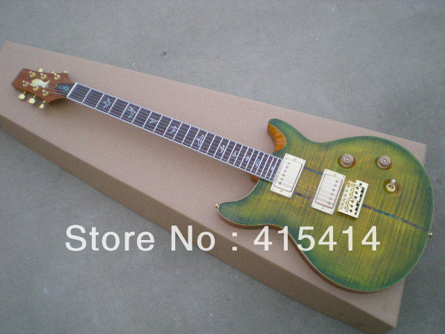 EMS PAS green ring small make up eagle standard clip striped electric guitar golden pick-up guitar(China (Mainland))