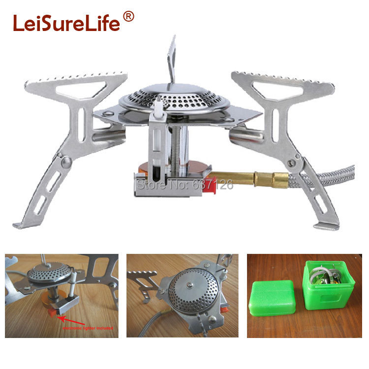 New portable camping gas burner ignition large power mini folding size for camping hiking outdoor tableware free shipping(China (Mainland))