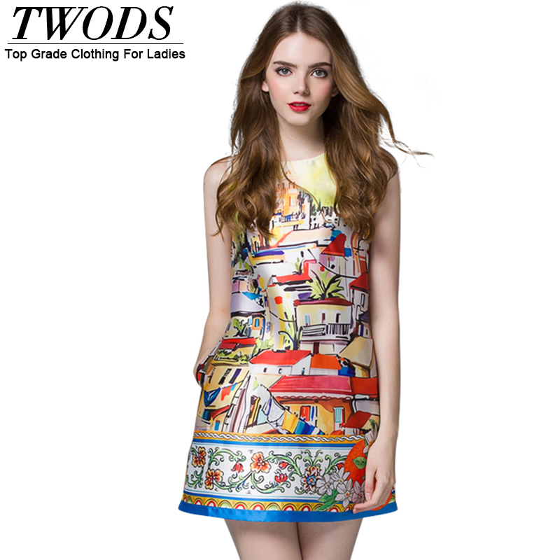 Twods Fashionable 2016 Summer Runway Women Dress Oil Painting Print Sleeveless O-neck Mini A-line Dresses With Pockets Robes