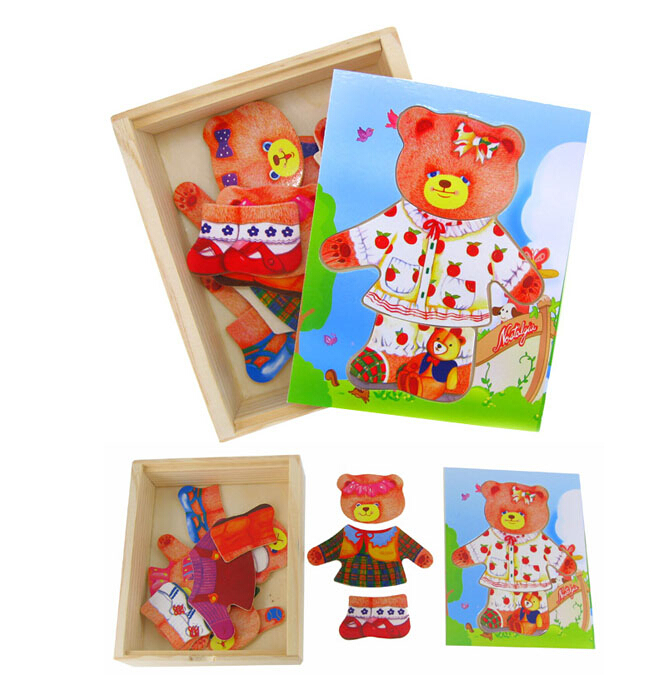 Free shipping educational toys wooden clothing Winnie bear single girl locker box stereo jigsaw puzzle game creative gift 1pc(China (Mainland))