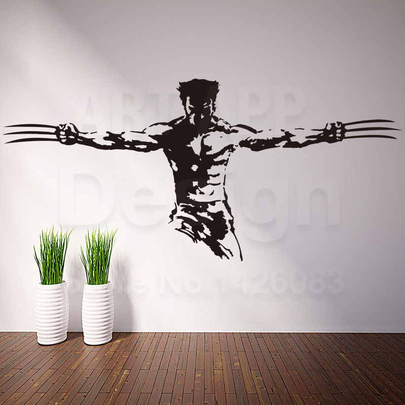 Art new design home decoration cheap vinyl wolverine wall for X men room decorations