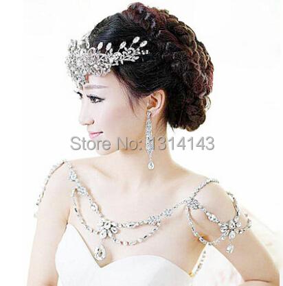 2015 New Fashion Bride Jewelry vintage Wedding Accessories Bridal Shoulder Chain big Necklace crystal shoulder strap(China (Mainland))