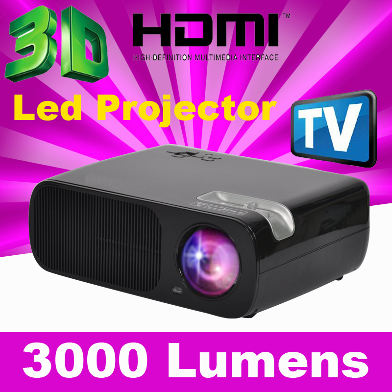 ATCO 2HDMI 2USB 3000lumens Full HD TV LED Projector beamer multimedia home cinema theater Portable KTV Video 3D projectors 1080p(China (Mainland))