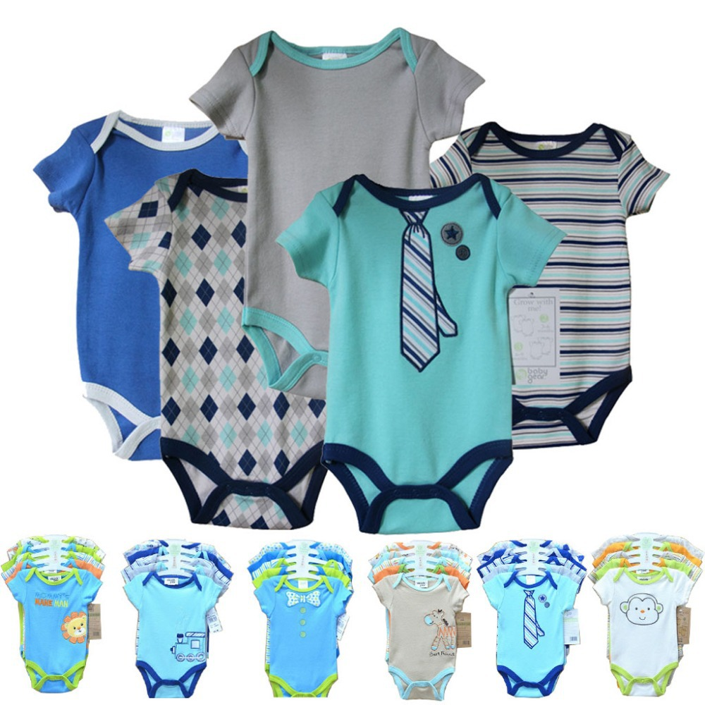 5pcs/lot Free Shipping 2015 New Summer Cartoon Baby Bodysuis Cute Clothes short Sleeve Baby Boy Girl Bodysuit Clothing set(China (Mainland))