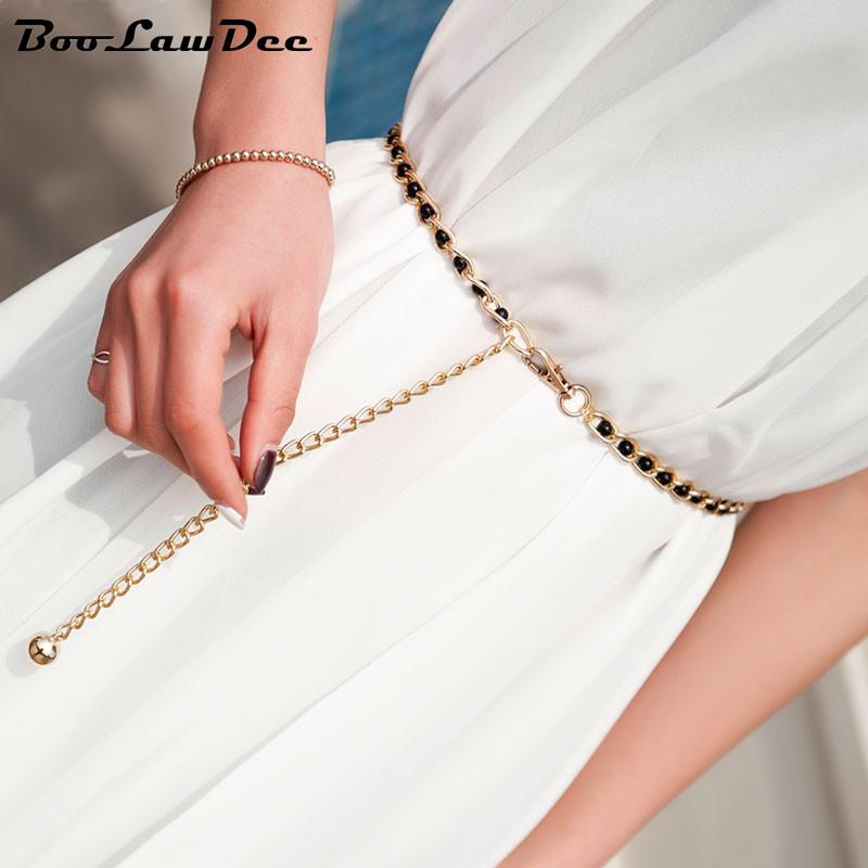 Женский ремень цепь на платье