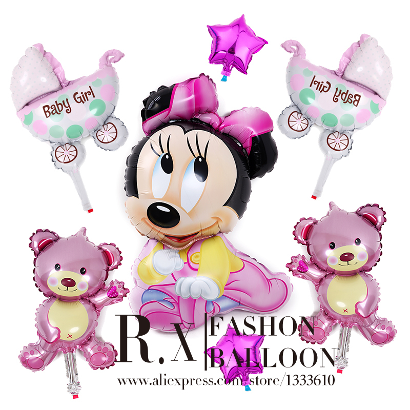 Guaranteed 100% (7 pcs/lots) Minnie Mickey Mouse Cartoon Foil Balloon Kids Birthday, Party Decorations Balloons+Free shipping(China (Mainland))