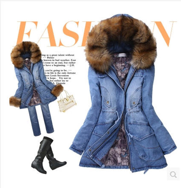 Fashion Women Long Section Rabbit Fur Collar Hooded Jeans Coat Thick Cotton Denim Jacket Casacos Femininos J16 - yue clothes store
