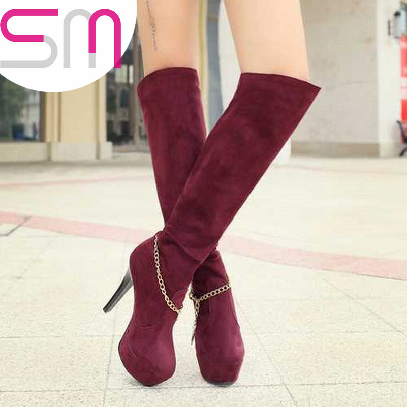 Sexy Chains Print Over Knee High Boots 2015 Red Bottoms High Heels Platform Boots Knight boots Autumn Winter Boots Women Shoes