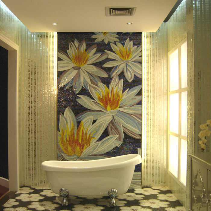 Lotus flower painting pastoral custom hand cut crystal for Custom mosaic tile mural