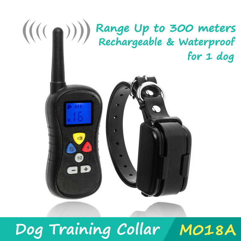 2016 New Dog Trainer 300M Waterproof Rechargeable LCD Remote Pet Dog Training Collar Electric Shock Large Dog Control(China (Mainland))