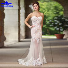 Buy 2017 High New Fashion Lace Mermaid Champagne Ivory Wedding Dresses Shoulder Bridal Gown Custom Size for $186.96 in AliExpress store