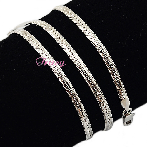 3mm Herringbone Snake Slim Necklace Mens Womens 18k White Gold Filled Chains Necklace Cheap Jewelry(China (Mainland))