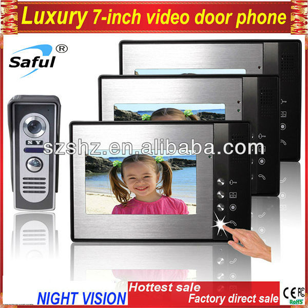 Free shipping 7''color villa video door phone Volume brightness contrast adjustable vodeo intercom night vision outdoor camera(China (Mainland))
