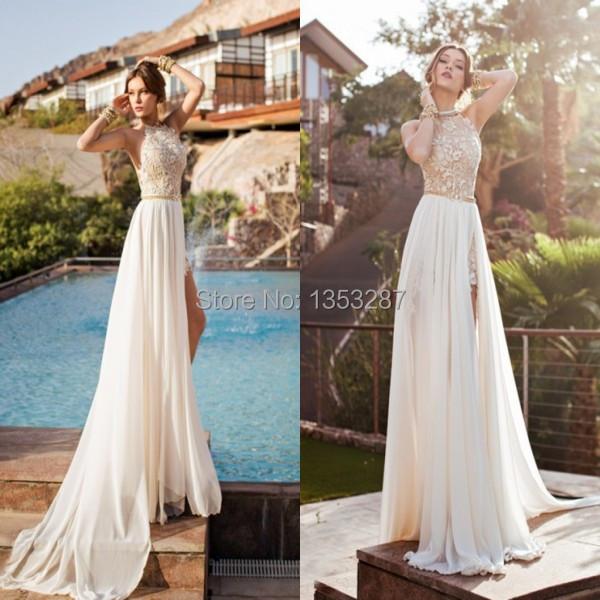 Sexy high neck wedding dresses beach style custom made for High neck backless wedding dress
