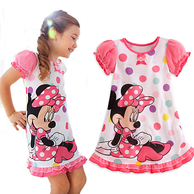 Clearance!!2016 Spring Summer Girl Minnie Dress Cartoon Print Kids Children Girl Princess Dress Fashion Girl Vestido infantil(China (Mainland))