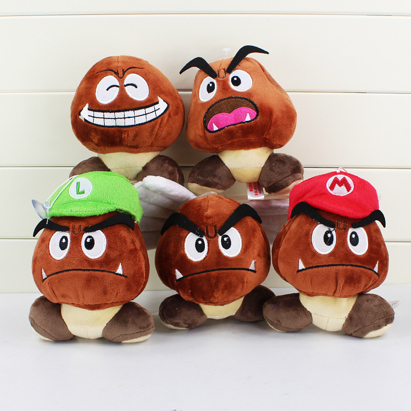 Super Mario Bros Goomba Plush Stuffed Dolls Plush Toys 12CM 5styles choose NEW Plush Toys Figures Toys(China (Mainland))