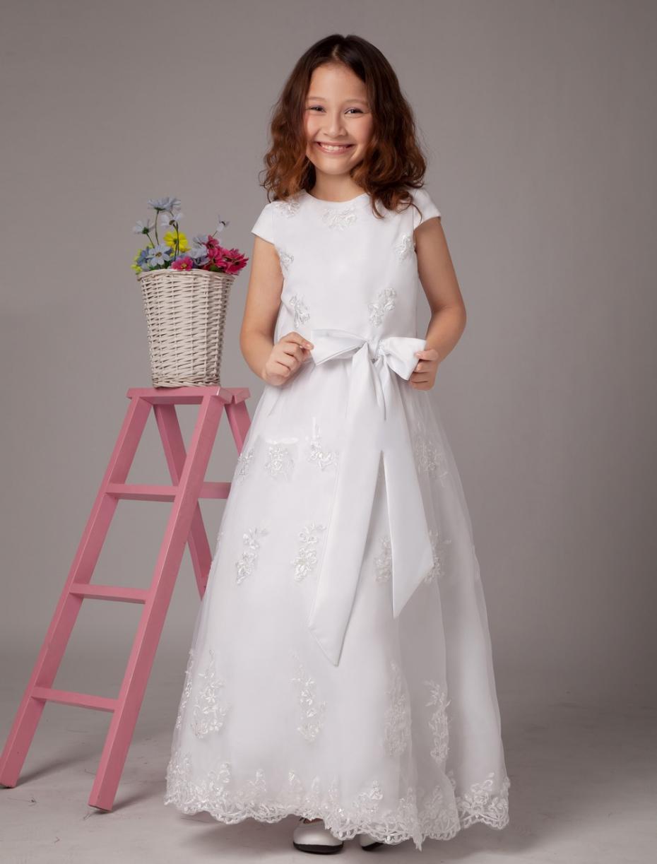 item short sleeves long white lace flower girl dresses first communion girlsmeninas vestidos dama