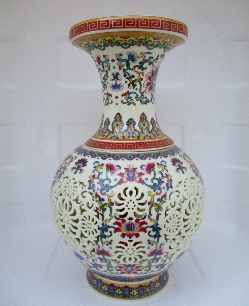H:11 inch Home Decoration High Quality Chinese Antique Openwork Porcelain Vase/Classic color Ceramic Vases /Double layer vase 03(China (Mainland))