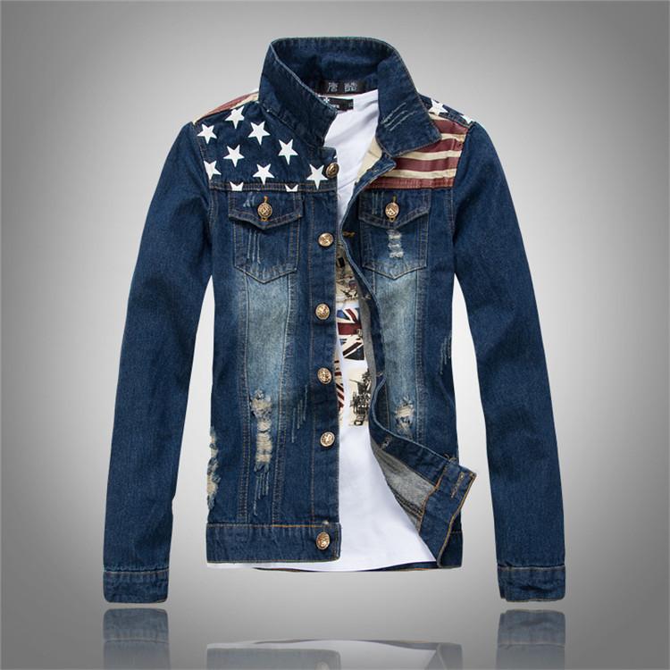 2015 New Fashion Usa Flag Design Mens Jeans Jackets