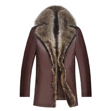 Man jacket Genuine Leather Sheepskin with Fur thick warm New fashion casual style 7341 High Quality Coat clothing Free shipping(China (Mainland))