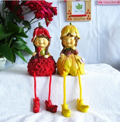 MOQ:1 pair! Free shipping handcraft painted resin table ornament one pair of rose&lily moppets/ wedding gift