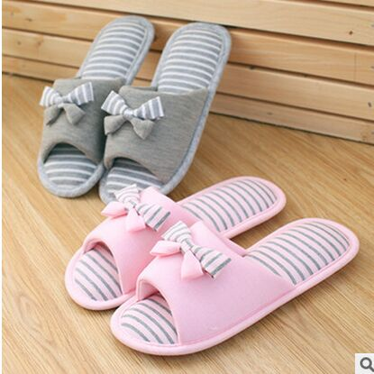 The New Spring And Summer Sweet Striped Bow Fish Head Home Slippers Floor Drag Heavy-Bottomed Non-Slip Cotton Women Slippers <br><br>Aliexpress